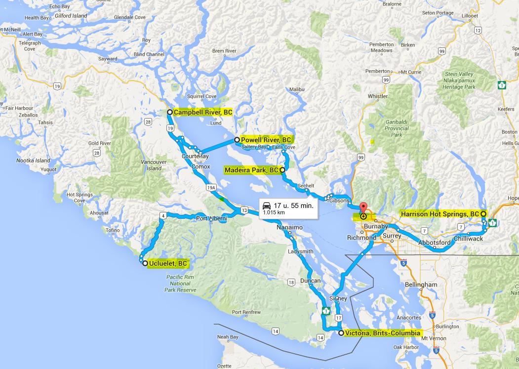 Blog kaart vancouver Island